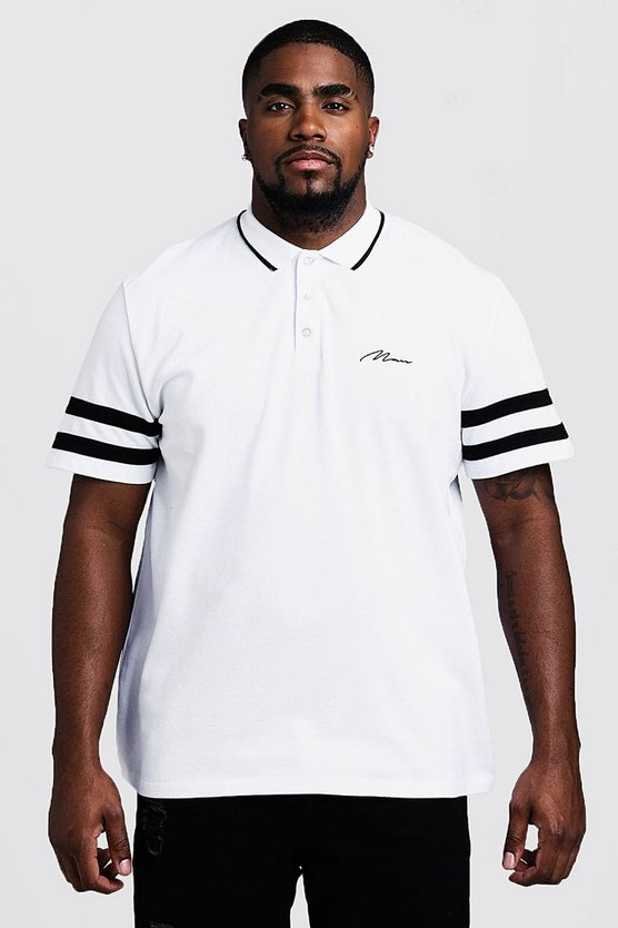 Mens White Big & Tall MAN Pique Polo With Sleeve Stripe Detail
