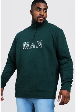 Mens Forest Big & Tall Funnel Neck MAN Embroidered Track Top