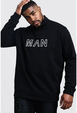 Black Big & Tall Funnel Neck MAN Embroidered Track Top