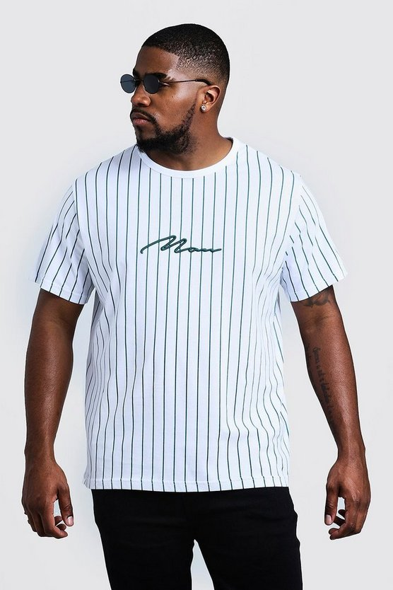 Mens Teal Big & Tall 3D MAN Embroidered Stripe T-Shirt