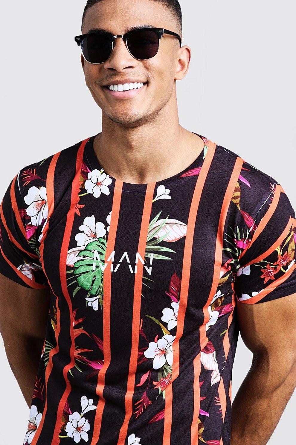 215f6ce300c Original MAN Stripe Floral Printed T-Shirt - boohooMAN