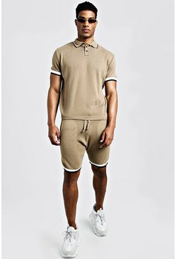 Mens Camel Knitted Polo & Shorts Set With Tipping
