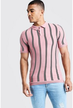 Mens Dusky pink Knitted Polo With Stripe