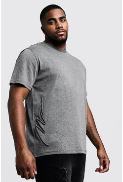 Mens Charcoal Big & Tall 3D MAN Signature T-Shirt