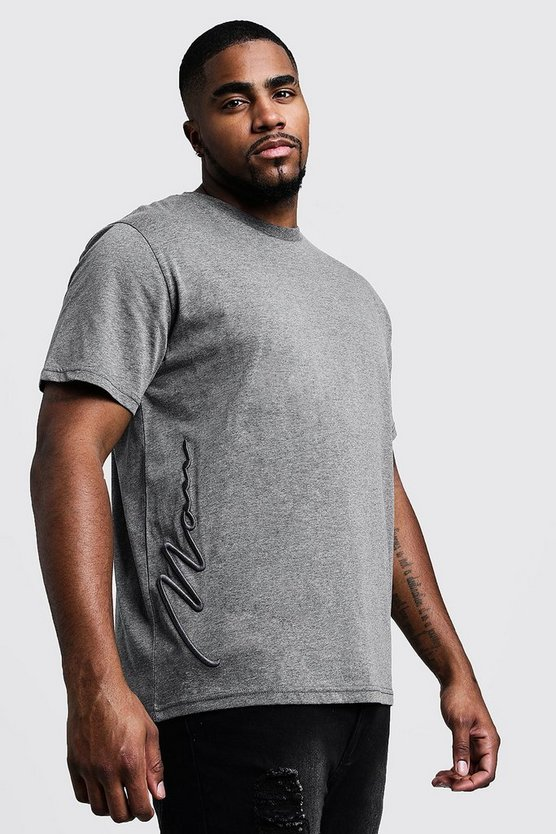 Big & Tall - T-shirt avec signature 3D MAN, Anthracite, Homme