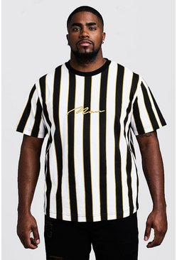 Mens Mustard Big & Tall Stripe Print MAN T-Shirt