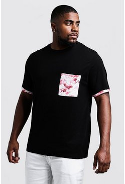 Mens Black Big & Tall Roll Sleeve T-Shirt With Printed Pocket