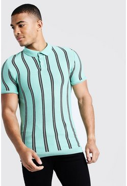 Mens Mint Knitted Polo With Stripe