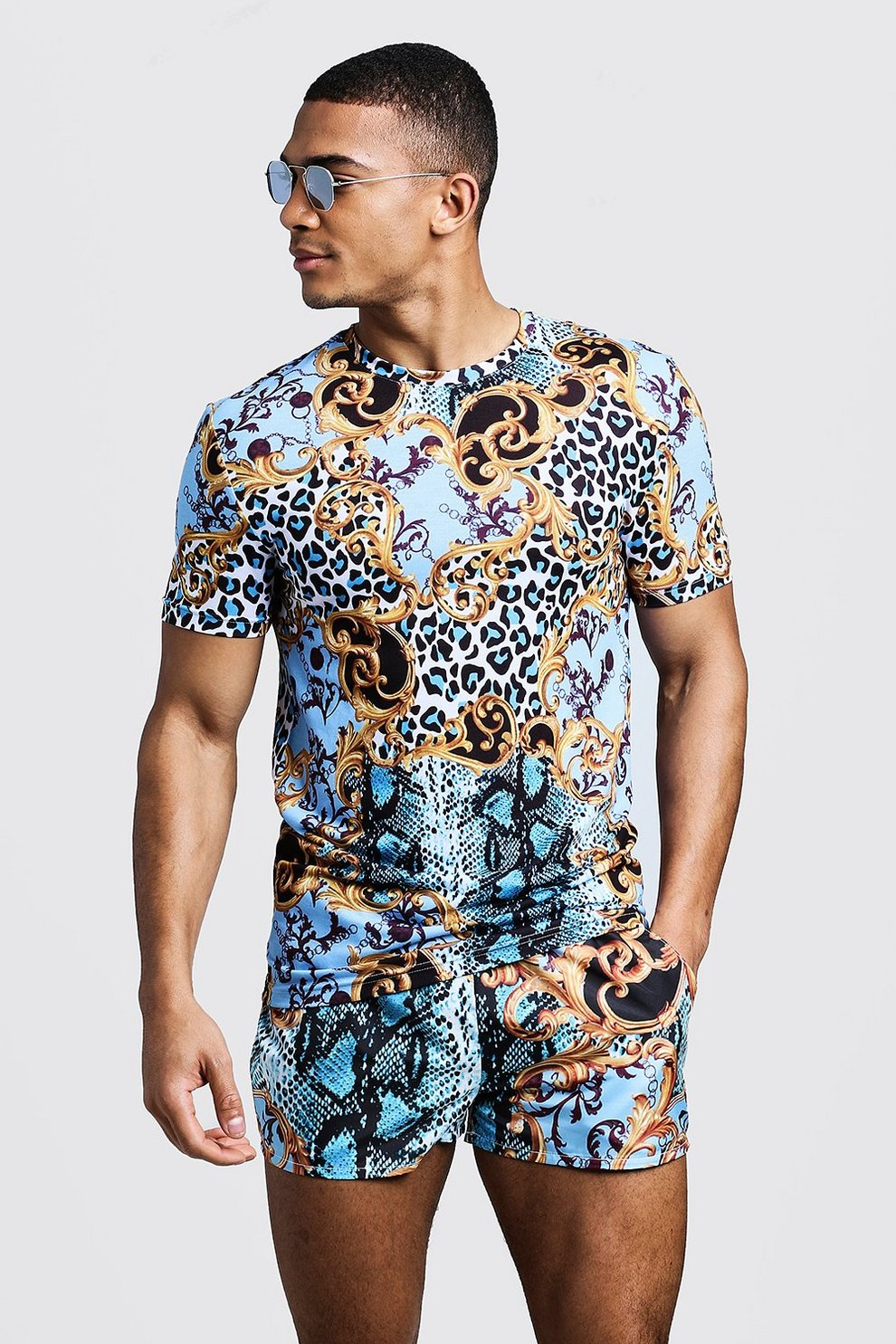 64b93d101 Mens Blue Baroque & Animal Print Muscle Fit T-Shirt & Swim Short. Hover to  zoom. Close video