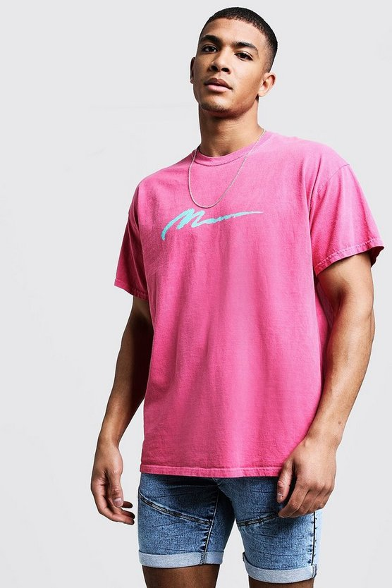 Pink MAN Paint Loose Fit Overdyed T-Shirt