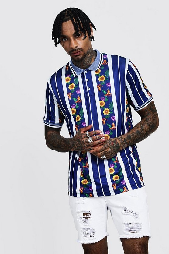 Floral & Stripe Printed Polo