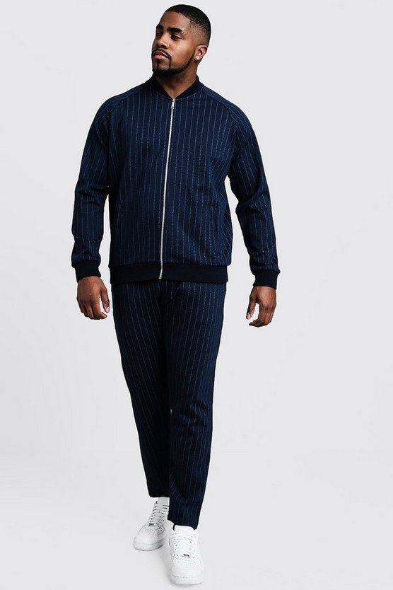 Navy Big & Tall MAN Pinstripe Cropped Smart Tracksuit