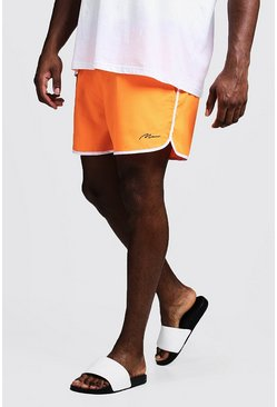 Mens Neon-orange Big & Tall MAN Signature Runner Swim Short