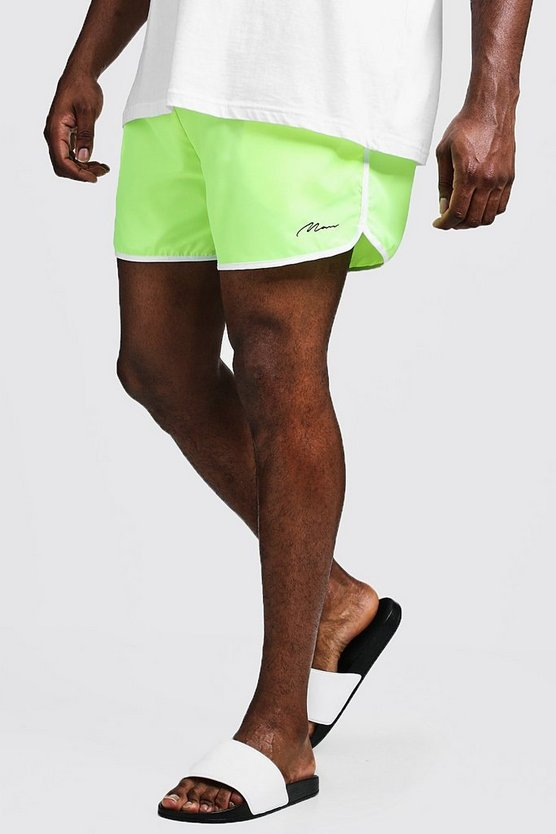Big & Tall - Short de bain running signature MAN, Jaune néon, Homme