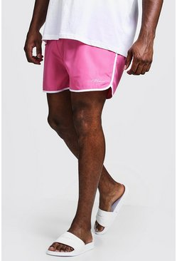 Mens Pink Big & Tall MAN Signature Runner Swim Short