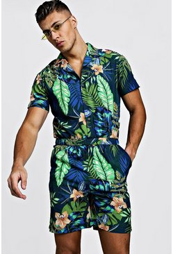 Mens Blue Floral Print Revere Collar Short Jumpsuit