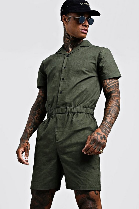 Mens Khaki Revere Collar Short Jumpsuit