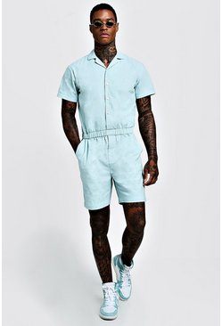 Mens Aqua Revere Collar Short Jumpsuit