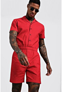 Red Revere Collar Short Jumpsuit