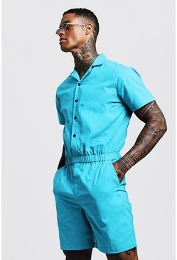 Mens Turquoise Revere Collar Short Jumpsuit