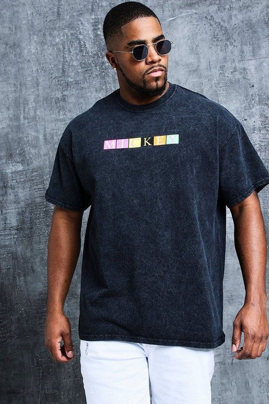 Black Disney Big And Tall Acid Wash Neon Printed Tee