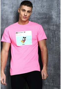 Mens Neon-pink Disney Mickey Pay Day Meme Printed Tee