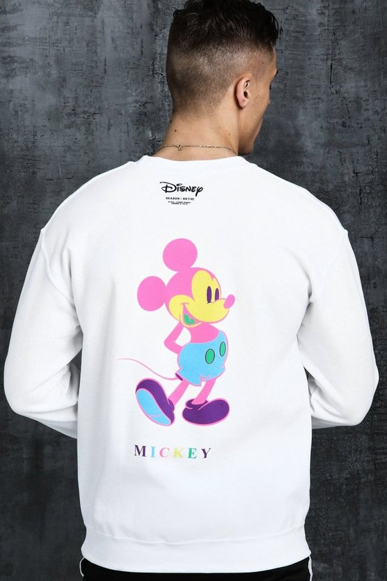 Sweat à imprimé Mickey Disney multicolore, Blanc, Homme