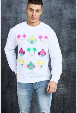 Mens White Disney Happy Mickey Printed Sweat