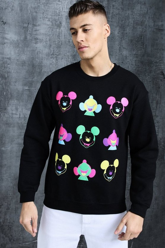 Black Disney Happy Mickey Printed Sweat