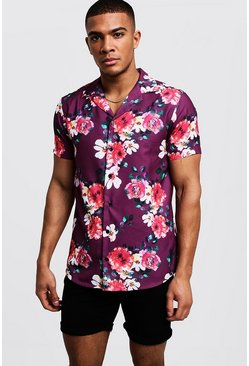 Mens Purple Floral Print Short Sleeve Revere Shirt