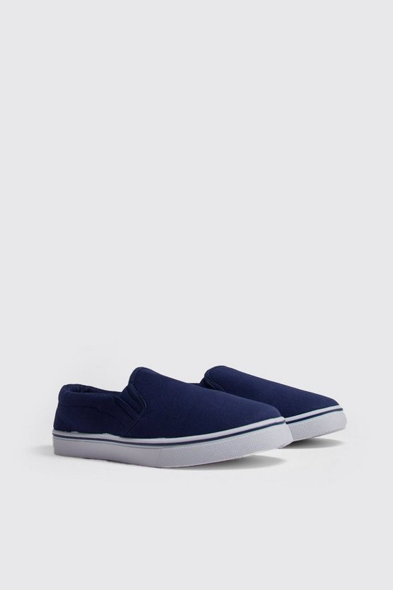 Mens Navy Slip On Canvas Pump