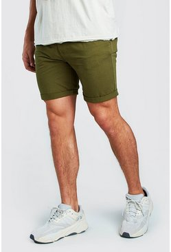 Mens Khaki Skinny Fit Chino Short In Mid Length
