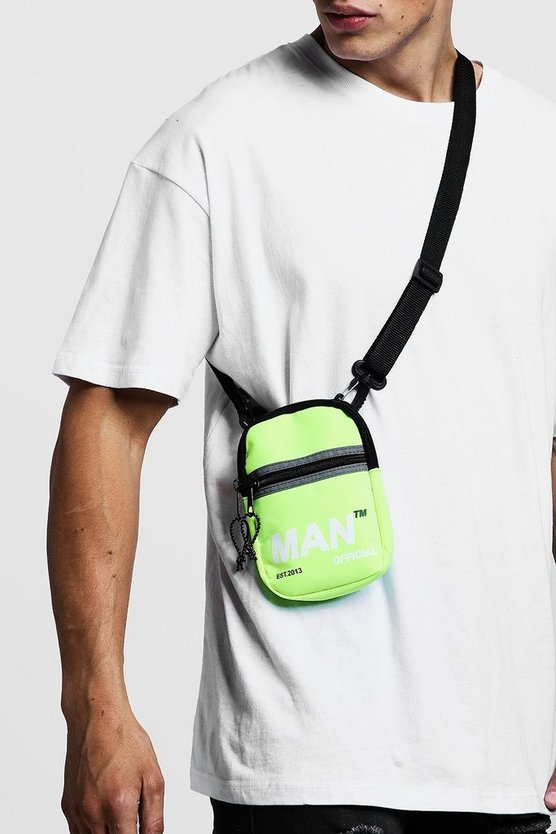 Mens Neon-yellow Reflective Zip Printed Mini Cross Body