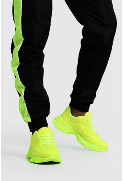 Mens Neon-yellow Neon Sole Chunky Sneaker