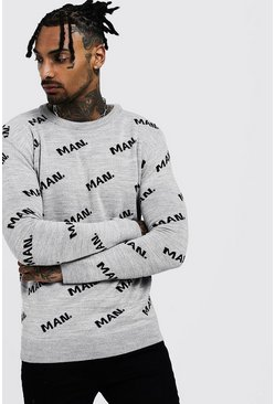 Mens Silver grey MAN Knitted Jumper