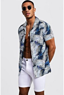 Mens Blue Bright Palm Print Short Sleeve Revere Shirt