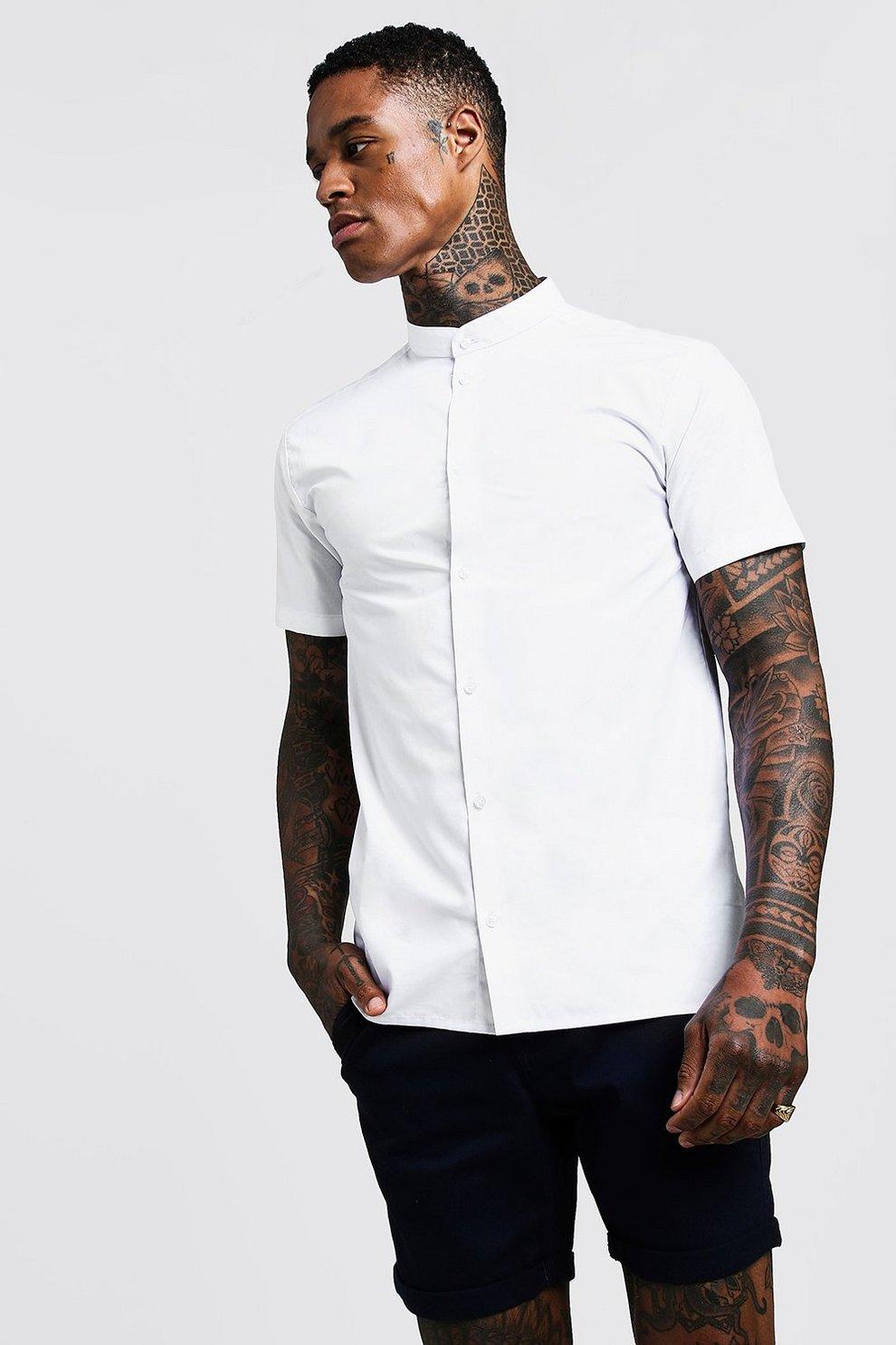 16b219f34 Mens White Slim Fit Short Sleeve Grandad Collar Shirt. Hover to zoom. Close  video