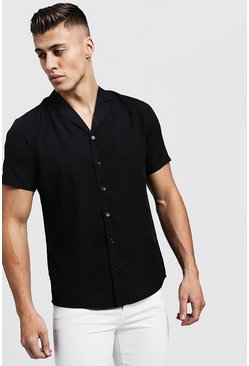 Black Short Sleeve Shirt With Revere Collar