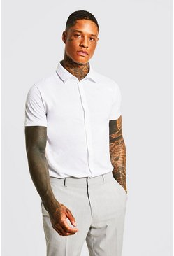 Mens White Short Sleeve Jersey Shirt