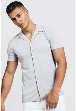 Mens Grey Muscle Fit Short Sleeve Revere Jersey Shirt
