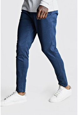 Mens Petrol Skinny Fit Stretch Chino Pants