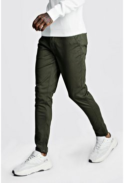 Mens Khaki Skinny Fit Stretch Chino Pants