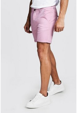 Mens Pale pink Skinny Fit Stretch Chino Short