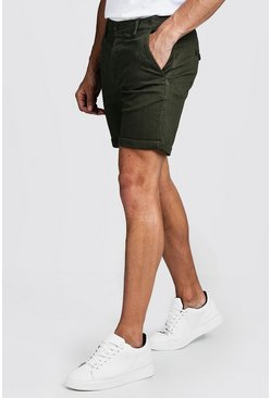 Mens Khaki Skinny Fit Stretch Chino Short