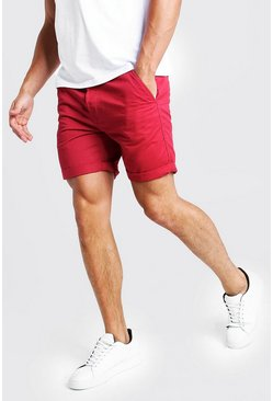 Mens Red Slim Fit Rigid Chino Short