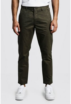 Mens Khaki Slim Fit Rigid Chino Pants