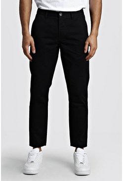 Pantalon chino rigide coupe slim, Noir