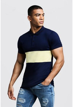 Polo colour block Muscle Fit, Jaune, Homme
