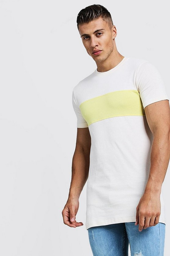 Mens Lime Muscle Fit Longline Colour Block Tee