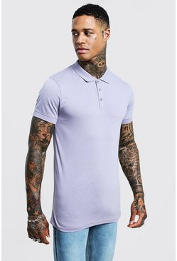 Mens Lilac Muscle Fit Polo
